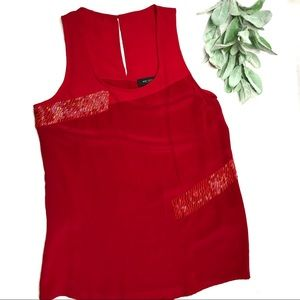 MM COUTURE | sz S red tank sheer silk shell